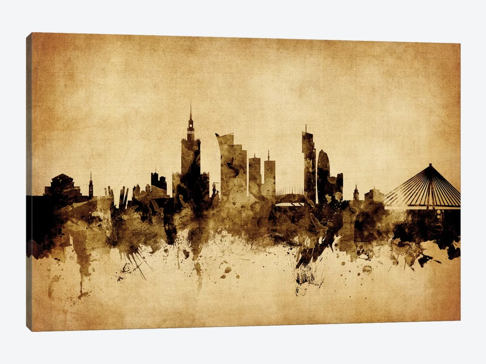 Foxed (Retro) Skyline Series: Warsaw, Poland by Michael Tompsett 1-piece Canvas Print