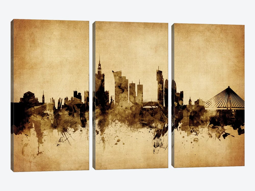 Foxed (Retro) Skyline Series: Warsaw, Poland 3-piece Art Print