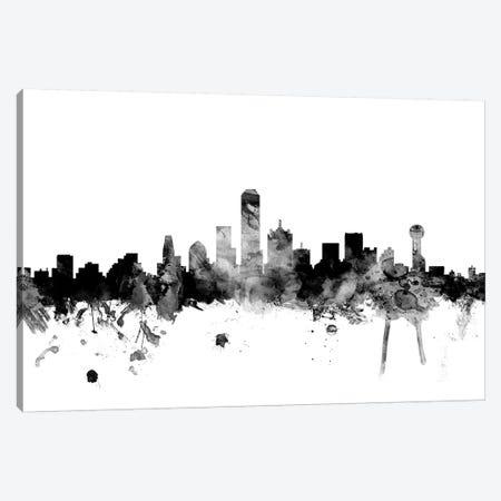 Dallas, Texas In Black & White Canvas Print #MTO782} by Michael Tompsett Canvas Art