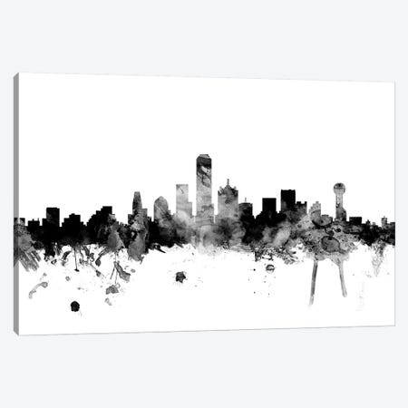 Dallas, Texas In Black & White Canvas Print #MTO782} by Michael Tompsett Canvas Art