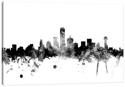 Dallas, Texas In Black & White Canvas Art Print