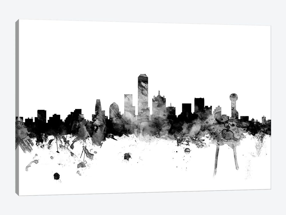 Dallas, Texas In Black & White 1-piece Canvas Art