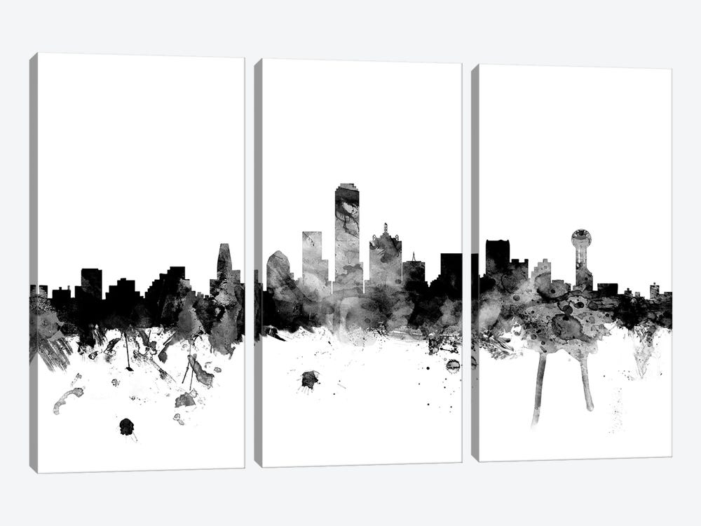 Dallas, Texas In Black & White 3-piece Canvas Art