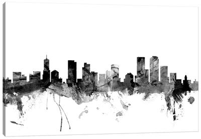 Denver, Colorado In Black & White Canvas Art Print