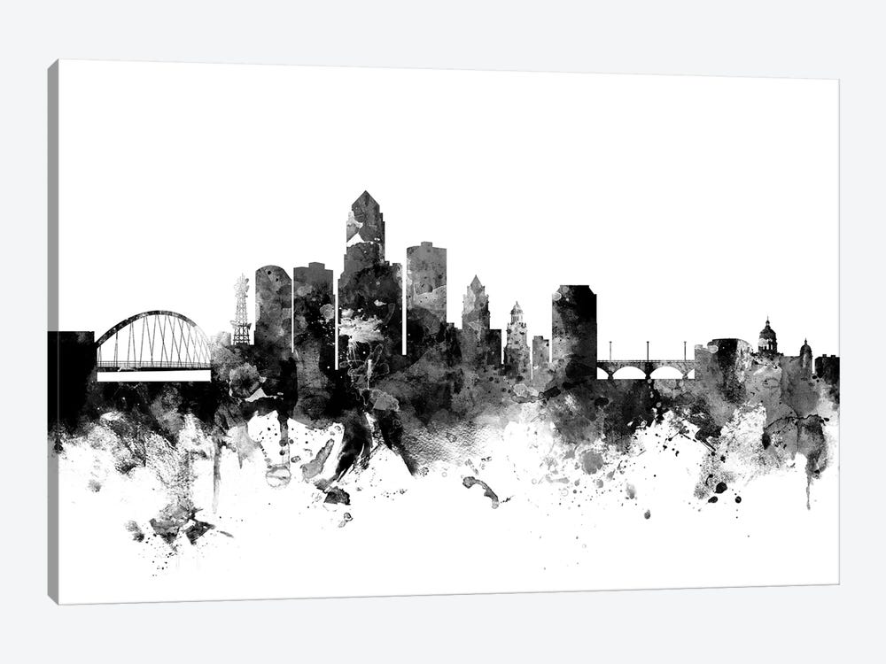 Des Moines, Iowa In Black & White by Michael Tompsett 1-piece Canvas Artwork
