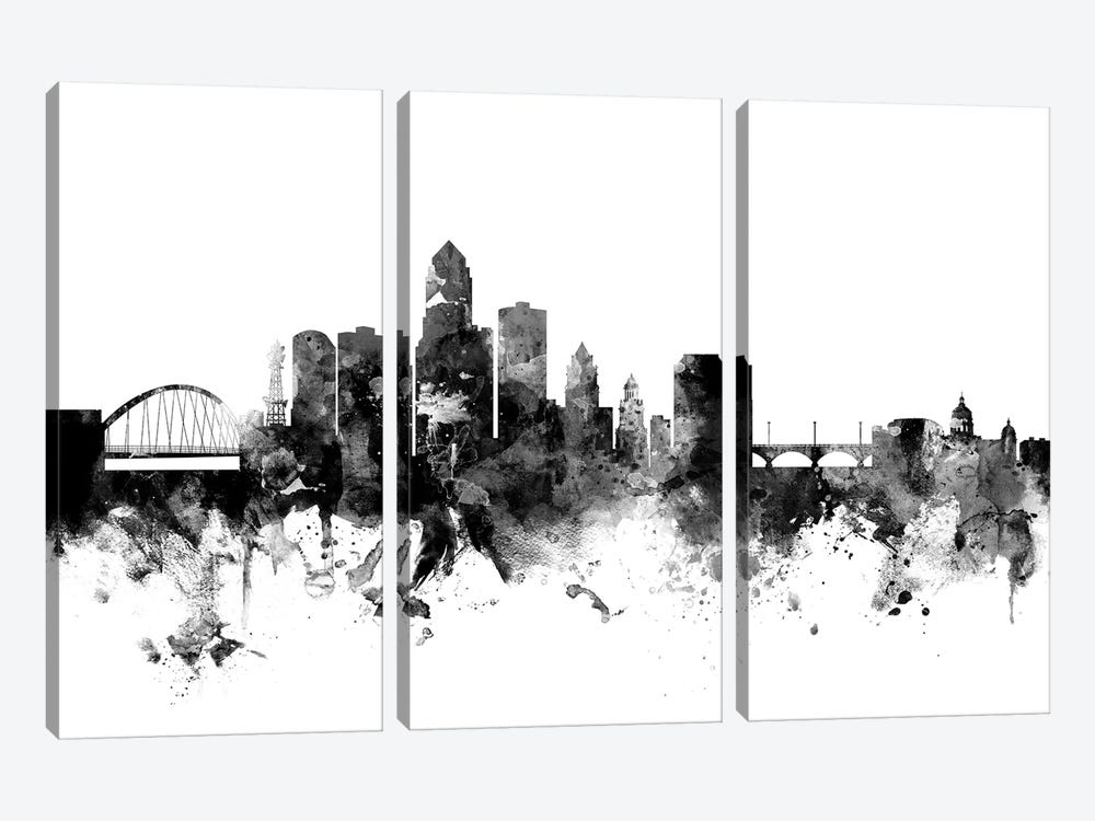 Des Moines, Iowa In Black & White by Michael Tompsett 3-piece Canvas Wall Art