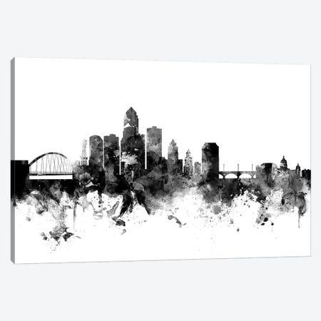 Des Moines, Iowa In Black & White Canvas Print #MTO786} by Michael Tompsett Canvas Print