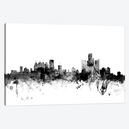 Detroit, Michigan In Black & White Canvas Print #MTO787} by Michael Tompsett Art Print