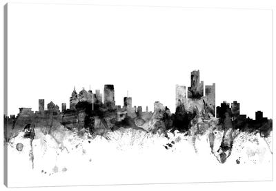 Detroit, Michigan In Black & White Canvas Art Print