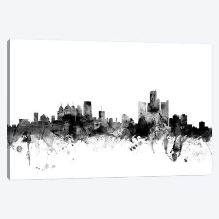 Detroit, Michigan In Black & White Canvas Print #MTO787} by Michael Tompsett Art Print