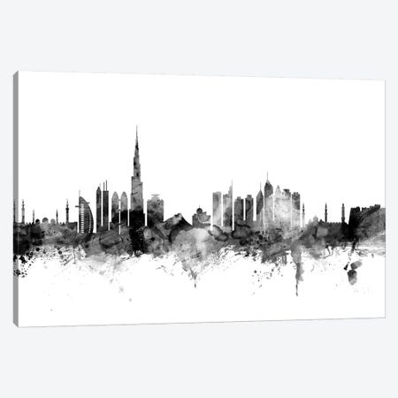 Dubai In Black & White Canvas Print #MTO790} by Michael Tompsett Art Print