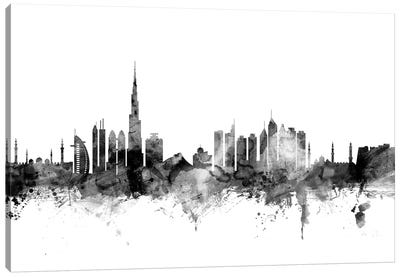 Dubai, UAE In Black & White Canvas Art Print