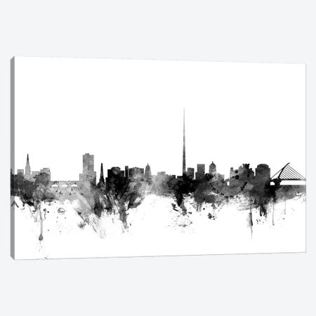 Dublin, Ireland In Black & White 3-Piece Canvas #MTO791} by Michael Tompsett Canvas Art Print