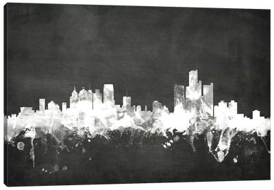 Blackboard Skyline Series: Detroit, Michigan, USA Canvas Art Print