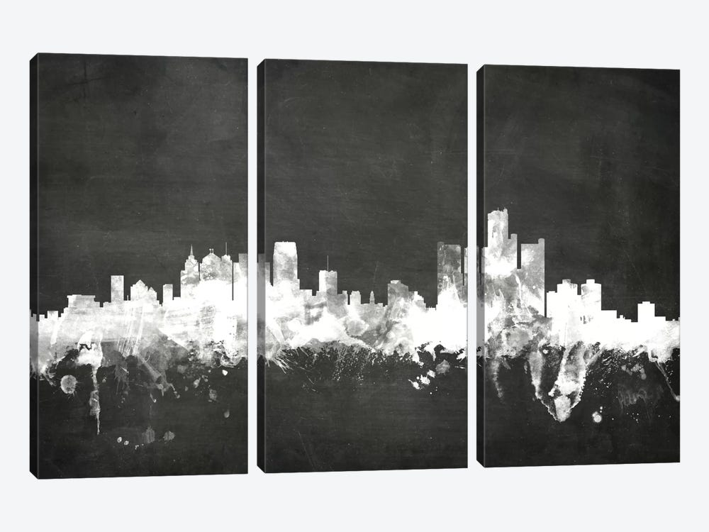 Detroit, Michigan, USA 3-piece Canvas Wall Art