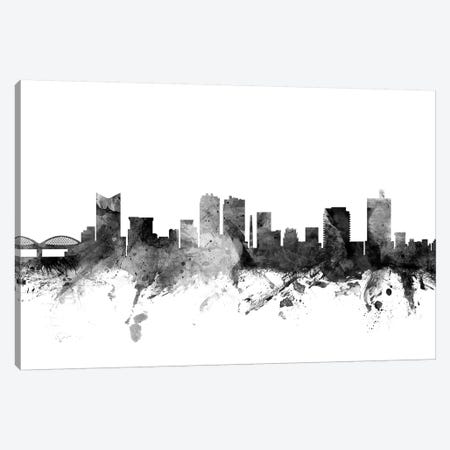Fort Worth, Texas In Black & White Canvas Print #MTO802} by Michael Tompsett Canvas Print