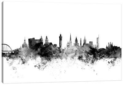 Glasgow, Scotland In Black & White Canvas Art Print
