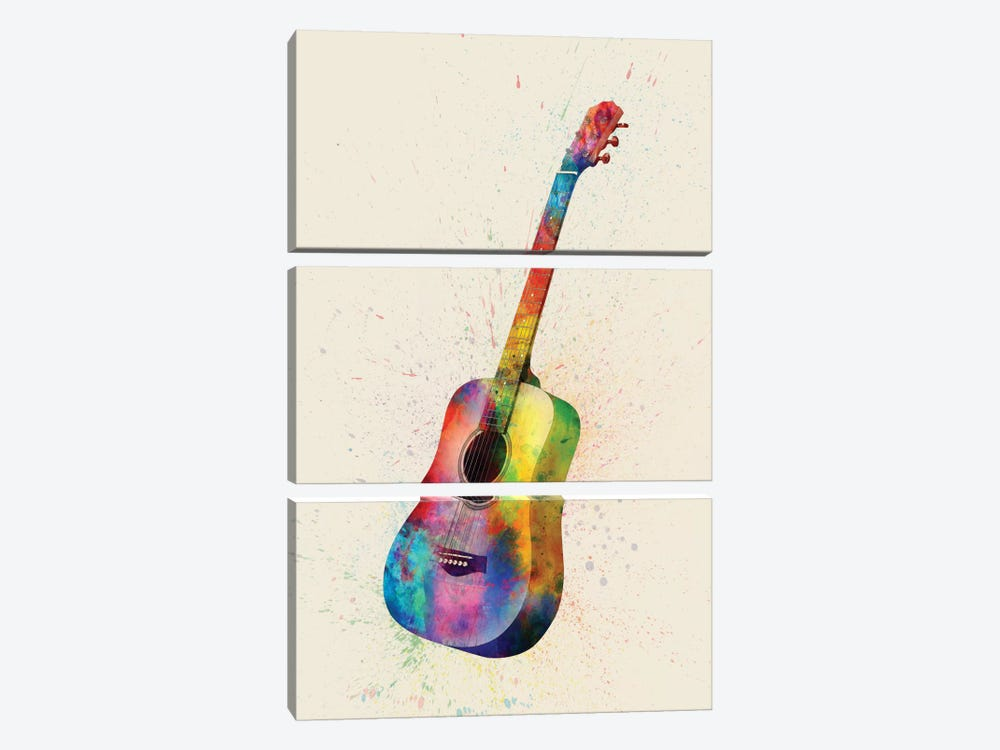 Musical Instrument Series: Acoustic Guitar by Michael Tompsett 3-piece Art Print