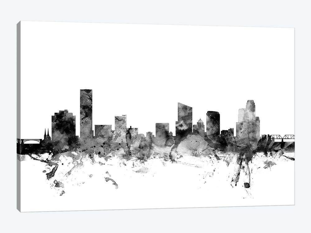 Grand Rapids, Michigan In Black & White by Michael Tompsett 1-piece Art Print