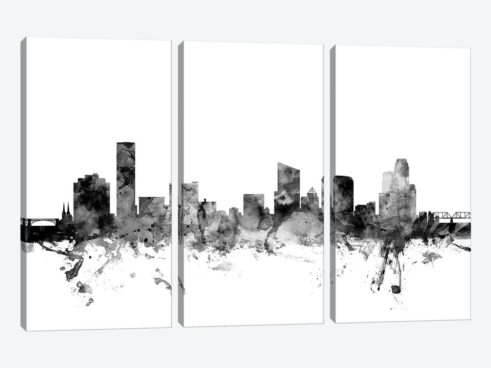 Grand Rapids, Michigan In Black & White by Michael Tompsett 3-piece Art Print