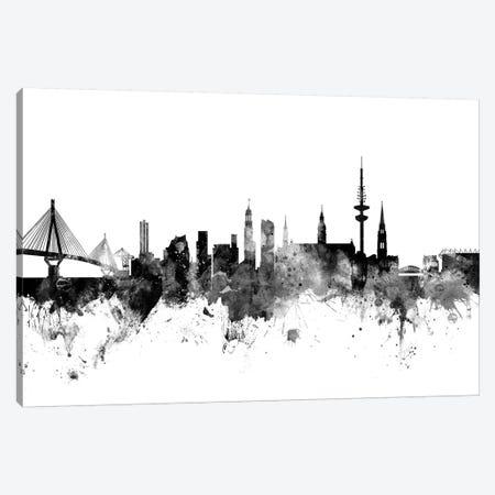 Hamburg, Germany In Black & White Canvas Print #MTO812} by Michael Tompsett Canvas Wall Art