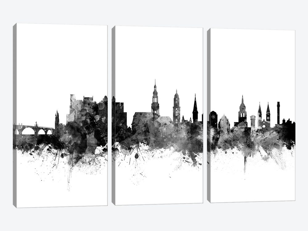 Heidelberg, Germany In Black & White by Michael Tompsett 3-piece Art Print