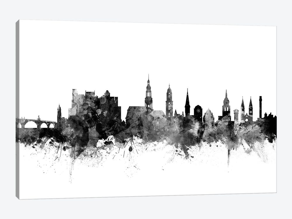 Heidelberg, Germany In Black & White by Michael Tompsett 1-piece Art Print