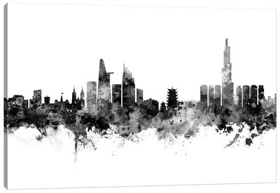 Ho Chi Minh City, Vietnam In Black & White Canvas Art Print
