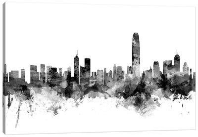 Hong Kong In Black & White Canvas Art Print