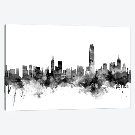 Hong Kong In Black & White 3-Piece Canvas #MTO817} by Michael Tompsett Canvas Print