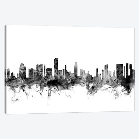 Honolulu, Hawaii In Black & White Canvas Print #MTO818} by Michael Tompsett Canvas Art