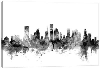 Houston, Texas In Black & White Canvas Art Print