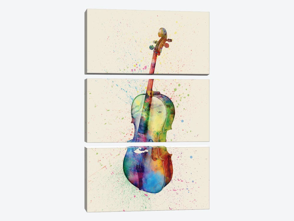 Musical Instrument Series: Cello by Michael Tompsett 3-piece Canvas Wall Art