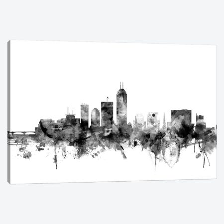 Indianapolis, Indiana In Black & White 3-Piece Canvas #MTO820} by Michael Tompsett Canvas Art Print