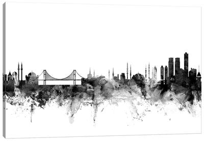 Istanbul, Turkey In Black & White Canvas Art Print