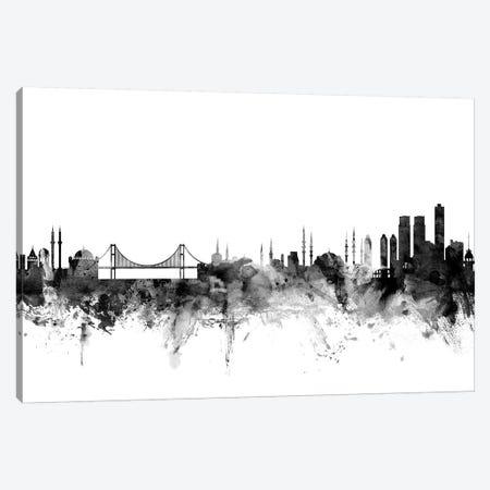 Istanbul, Turkey In Black & White 3-Piece Canvas #MTO822} by Michael Tompsett Art Print