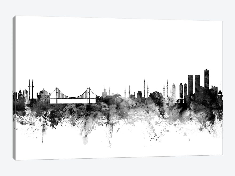 Istanbul, Turkey In Black & White by Michael Tompsett 1-piece Canvas Wall Art