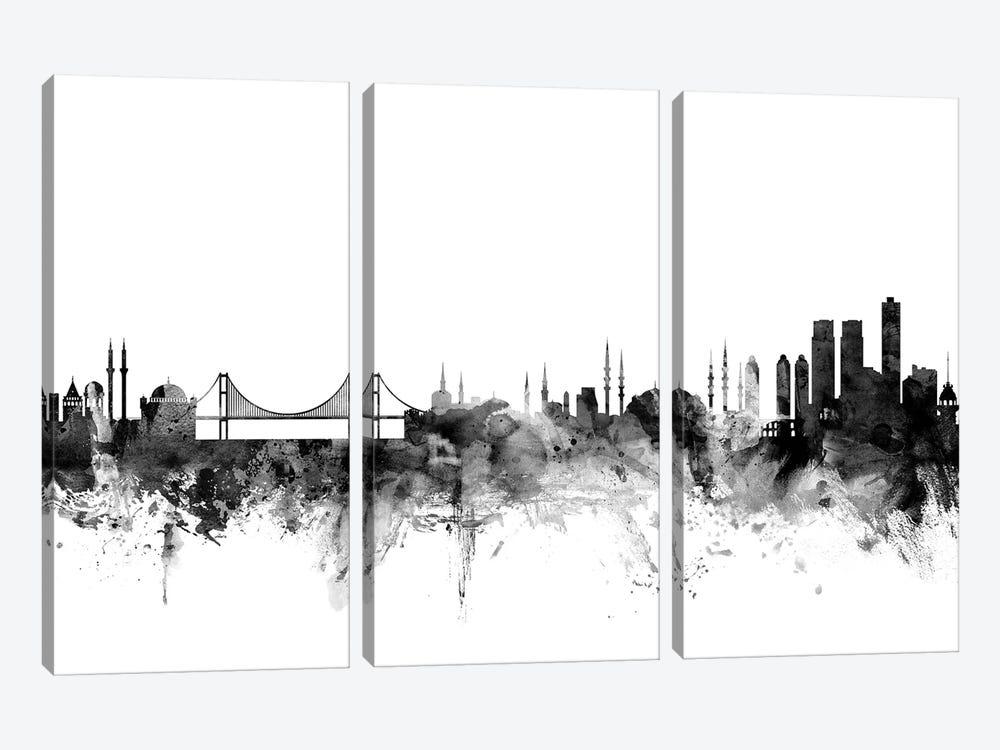 Istanbul, Turkey In Black & White by Michael Tompsett 3-piece Canvas Wall Art