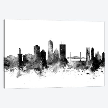 Jacksonville, Florida In Black & White Canvas Print #MTO824} by Michael Tompsett Canvas Wall Art