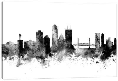 Jacksonville, Florida In Black & White Canvas Art Print