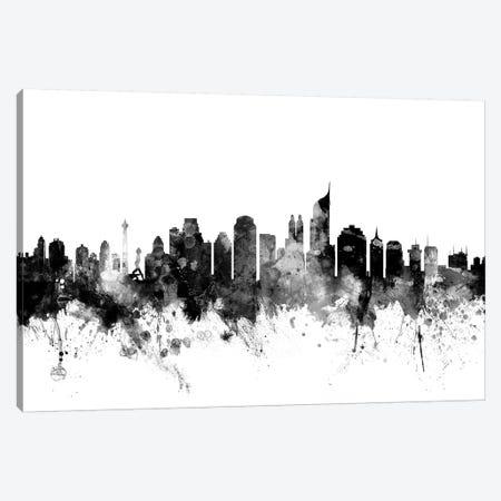 Jakarta, Indonesia In Black & White Canvas Print #MTO825} by Michael Tompsett Canvas Artwork