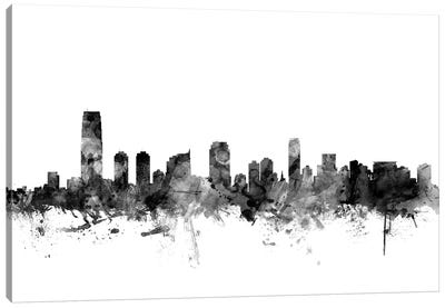 Jersey City, New Jersey In Black & White Canvas Art Print