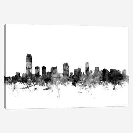 Jersey City, New Jersey In Black & White Canvas Print #MTO826} by Michael Tompsett Canvas Artwork