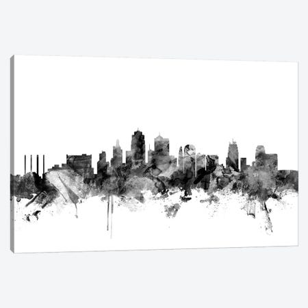 Kansas City, Missouri In Black & White Canvas Print #MTO828} by Michael Tompsett Canvas Art Print
