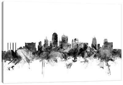 Kansas City, Missouri In Black & White Canvas Art Print