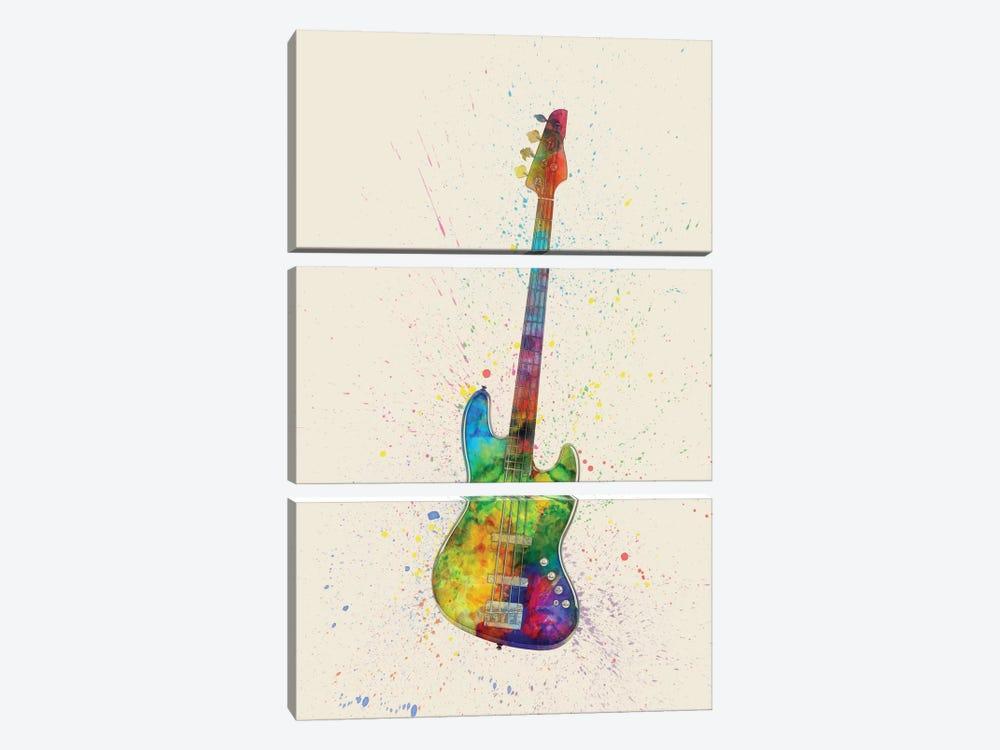 Electric Bass Guitar by Michael Tompsett 3-piece Canvas Print