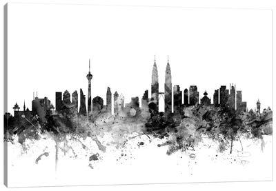 Kuala Lumpur, Malaysia In Black & White Canvas Art Print