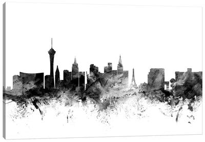 Las Vegas, Nevada In Black & White Canvas Art Print