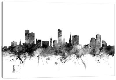 Leicester, England In Black & White Canvas Art Print