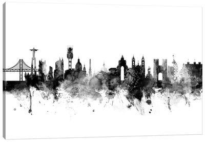 Lisbon, Portugal In Black & White Canvas Art Print